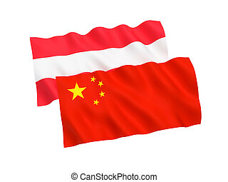 Flags of Austria and China on a white background