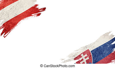 Flags of Austria and?Slovak Republic on White Background