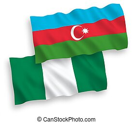 Flags of Azerbaijan and Nigeria on a white background - ...