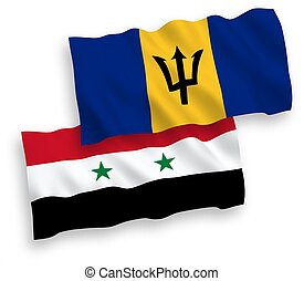 Flags of Barbados and Syria on a white background - National...