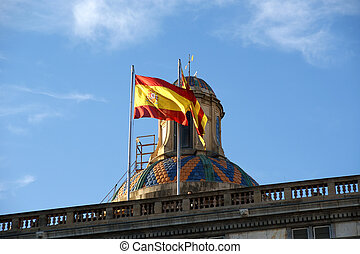 Flags of Barcelona and ??Catalonia on the roof of Government