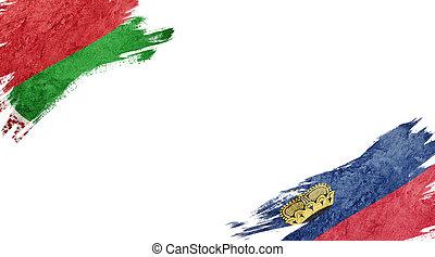 Flags of Belarus and Liechtenstein on white background