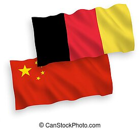 Flags of Belgium and China on a white background