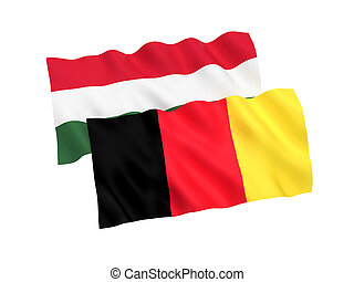 Flags of Belgium and Hungary on a white background