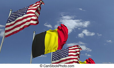 Waving flags of countries against sky, 3D