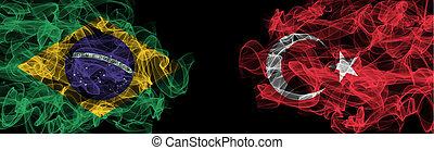Flags of Brazil and Turkey on Black background, Brazil vs Turkey Smoke Flags