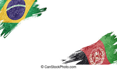 Flags of Brazil and?Afghanistan on White Background