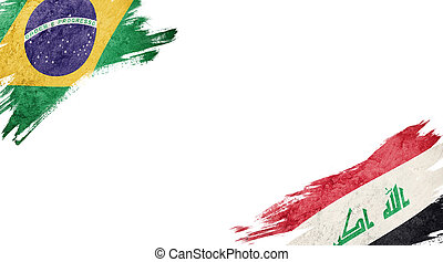 Flags of Brazil and?Iraq on White Background