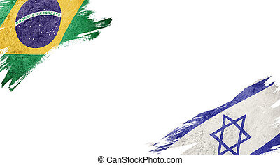 Flags of Brazil and?Israel on White Background