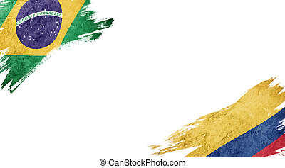 Flags of Brazil and?Jamaica on White Background
