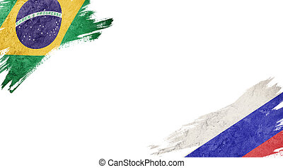 Flags of Brazil and?Russia on White Background