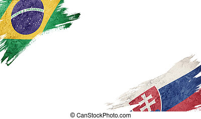 Flags of Brazil and?Slovak Republic on White Background