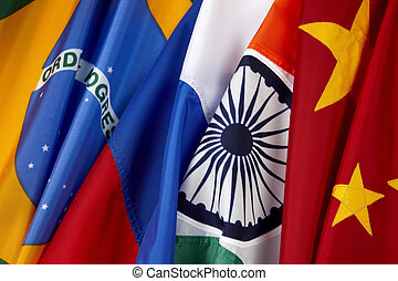 Close-up shot of the BRIC country flags- Brazil, Russia, India, China