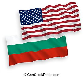 Flags of Bulgaria and America on a white background -...