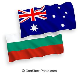 Flags of Bulgaria and Australia on a white background -...