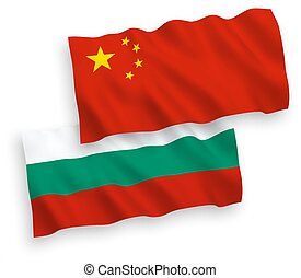 Flags of Bulgaria and China on a white background - National...
