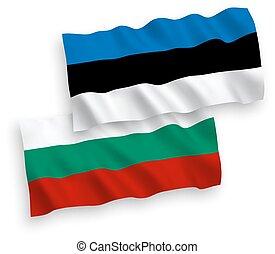 Flags of Bulgaria and Estonia on a white background -...
