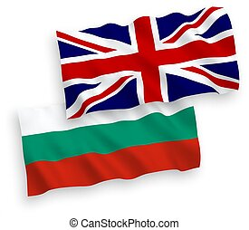 Flags of Bulgaria and Great Britain on a white background -...