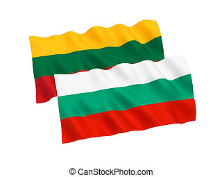 Flags of Bulgaria and Lithuania on a white background