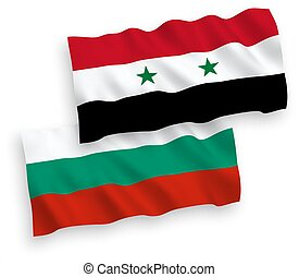 Flags of Bulgaria and Syria on a white background - National...