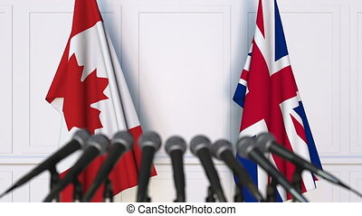 Flags of Canada and The United Kingdom at international...