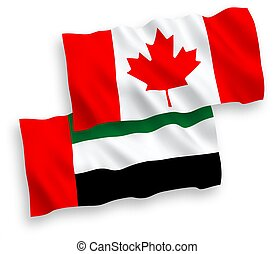 Flags of Canada and United Arab Emirates on a white background