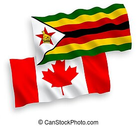 Flags of Canada and Zimbabwe on a white background - ...