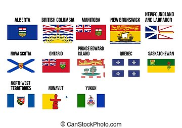Flags of Canadians provinces and territories. Vector illustration.