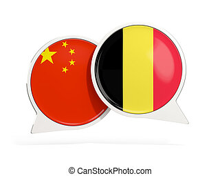 Flags of China and belgium inside chat bubbles