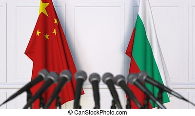 Flags of China and Bulgaria at international meeting or...