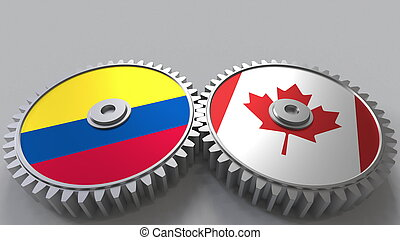 Flags of Colombia and Canada on meshing gears. International cooperation conceptual 3D rendering