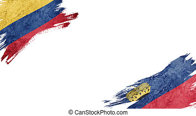 Flags of Colombia and Liechtenstein on white background