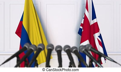 Flags of Colombia and the United Kingdom at international...
