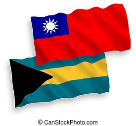 Flags of Commonwealth of The Bahamas and Taiwan on a white background