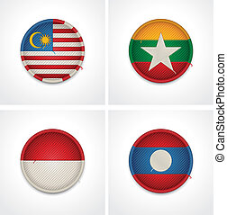 Set of detailed textile badges representing country flags of Asia