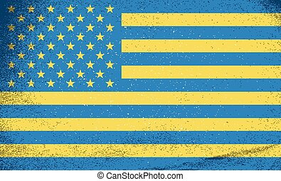 Flags of countries. Flags of Ukraine and USA combined together. Vector illustration.