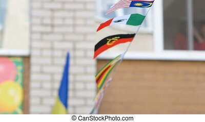 flags of countries on a rope develop in the wind