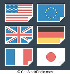 Flags of countries with curved edge