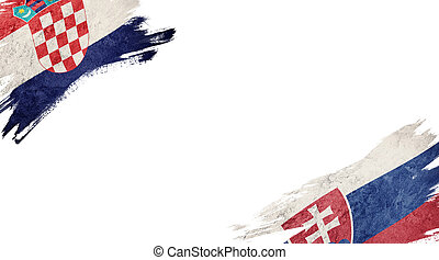Flags of Croatia and Slovak Republic on White Background