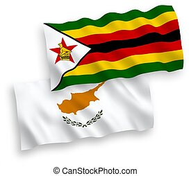 Flags of Cyprus and Zimbabwe on a white background - ...