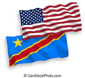 National vector fabric wave flags of Democratic Republic of the Congo and USA isolated on white background. 1 to 2 proportion.