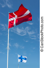 Flags of Denmark and Finland.