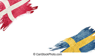 Flags of Denmark and Sweden on white background