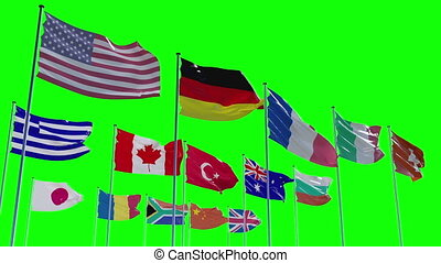Ready to use animation of different flags animated on a green screen background with alpha channel and z-channel This animation shows flags of 15 nations such as USA, Germany, France, Italy, Switzerland, Greece, Canada, China, Great Britain, South Africa and more. See my other flags of different ...
