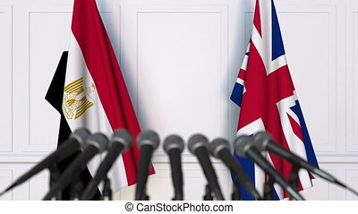 Flags of Egypt and The United Kingdom at international...