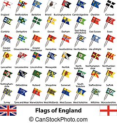 Flags of England, UK - Vector flags of England, United ...