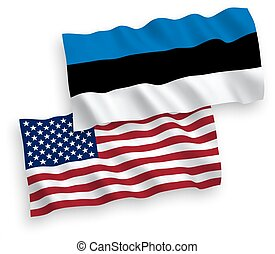 Flags of Estonia and America on a white background -...