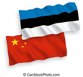 Flags of Estonia and China on a white background - National...