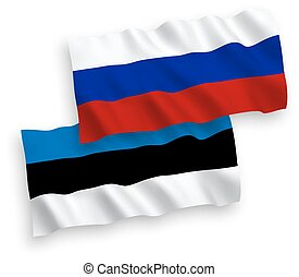 Flags of Estonia tvia and Russia on a white background -...