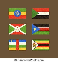 Flags of Ethiopia, Sudan, Burundi, South Sudan, Central African Republic and Zimbabwe